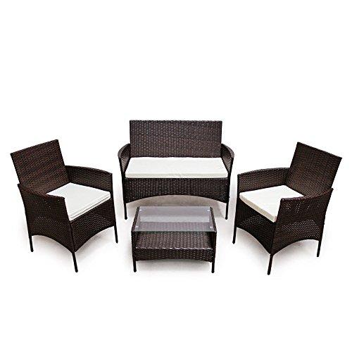 SVITA Poly Rattan Sitzgruppe Essgruppe Set Farbwahl - Cube Sofa-Garnitur Gartenmöbel Lounge Farbwahl 4er Garnitur Braun