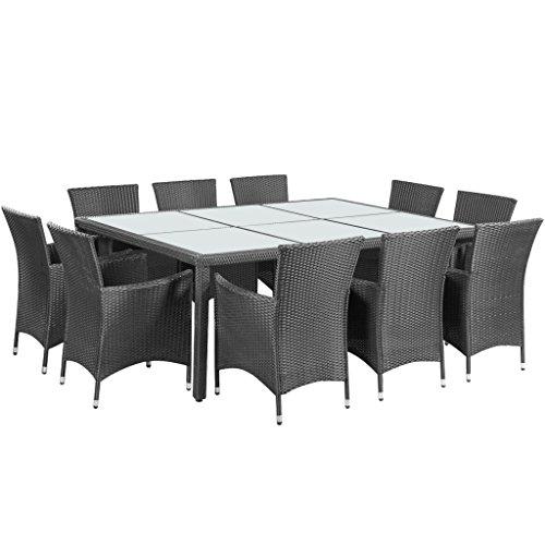 vidaXL Essgruppe Poly Rattan Schwarz Gartenmöbel Sitzgruppe Gartenset Lounge