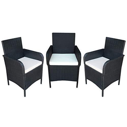 MCombo 3X Stuhl Polyrattan Gartenmöbel Essgruppe Sitzgarnitur Sitzgruppe