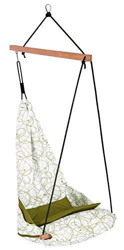 AMAZONAS Edler Hängesessel Hang Solo Peppermint mit Längsstab aus Holz 100 cm bis 150kg weiß-grün gemustert