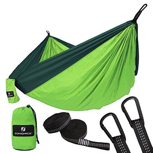 SONGMICS Outdoor Camping Hängematte Mehrpersonen aus Fallschirmseide Liegefläche 300 x 200 cm Ultraleichte Nylon Reisehängematte 300 kg Belastbarkeit von TÜV geprüft GDC20GN