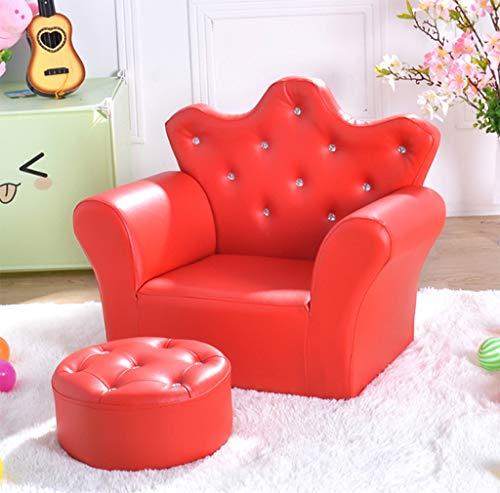 Kinder Sofa Set Kinder Sessel Stuhl PU Leder Sitz Hocker Sitz Diamant Krone Dekorative SofaRed