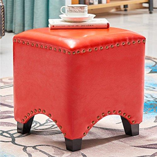 Stool Health UK Hocker 4-Legged American Pink Holzrahmen Fashion Hocker Schuhe Hocker Sofa Hocker Kleine Leder Pier Home Bench 35 X 35 X 38 cm Welcome Farbe  Red