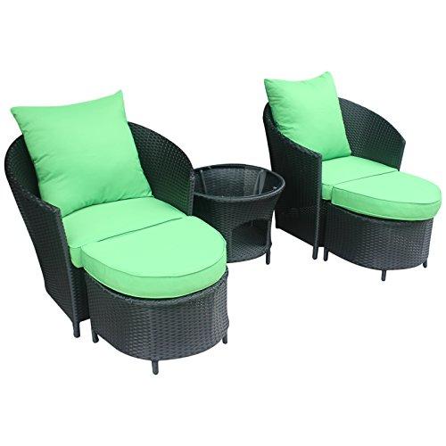 Gartenmöbel Polyrattan Lounge Sitzgruppe Garnitur 2 Sessel mit Hocker1 x Tisch SchwarzGrün