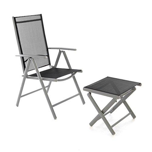 Nexos ZGC34450_SL Klappstuhl Gartenstuhl Campingstuhl Liegestuhl mit Hocker – Sitzmöbel Garten Terrasse Balkon – klappbarer Stuhl aus Aluminium Kunststoff-schwarz