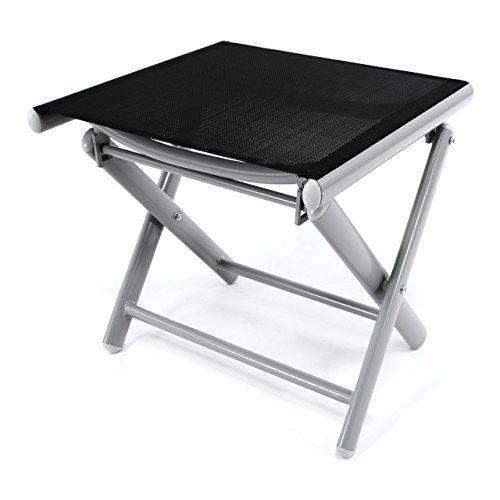 Nexos ZGC34465 Klapphocker Sitzhocker Campinghocker Fußteil aus Aluminium und Textilene schwarz pulverbeschichtet Rahmen Hellgrau Sitzhöhe 42 cm für Balkon Terrasse