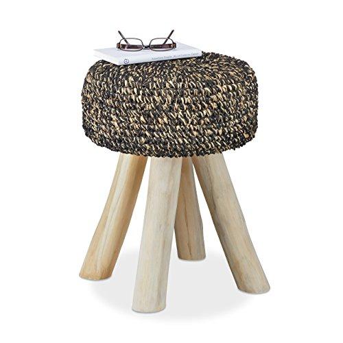 Relaxdays Teakholz Hocker 120 kg belastbarer Sitzhocker runder Polsterhocker HxBxT 48 x 38 x 38 cm schwarz-beige