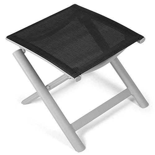 Vanage Alu Hocker in schwarz - klappbarer Fußhocker - Klapphocker - Sitzhocker - Klappstuhl für Camping Garten Terrasse und Balkon geeignet