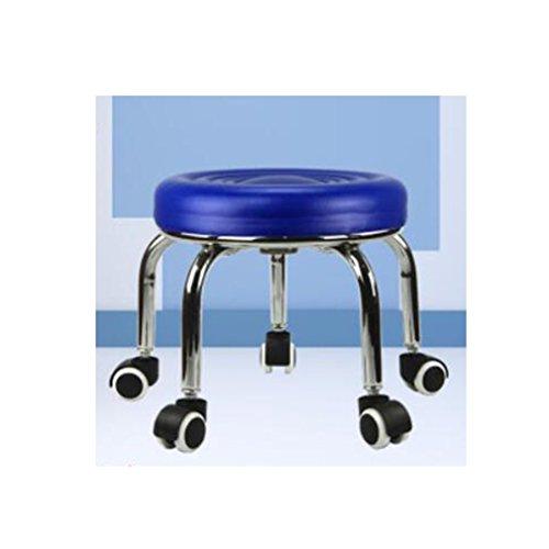 moxin Rollhocker,Hocker-Runde Schwarze Eisen-Weiche Sofa-fahrbare bewegliche Topf-Zahnstangen-Flaschenzug Blue Ripple High - 32cm