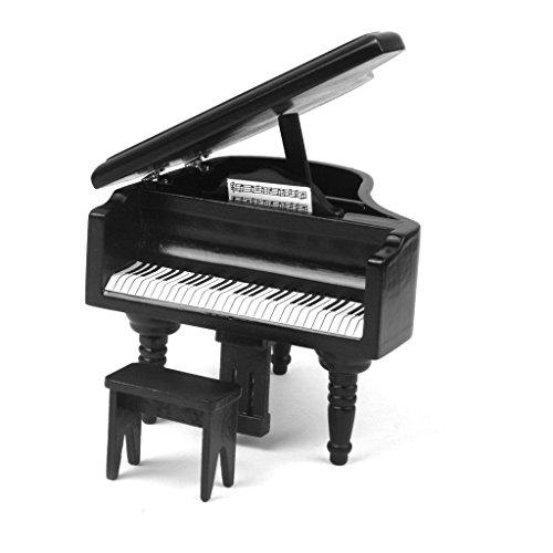 zhjz Mini Piano Form für Puppenhaus Miniatur Klavier und Hocker schwarz