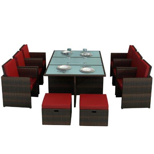 Jet-Line Gartenmöbel Bali braunrot - Aluminium Essgruppe Garten Möbel Tisch mit 6 Stühlen und 4 Hocker incl Glas und Sitzkissen Rattan Polyrattan Garten Gartenausstattung