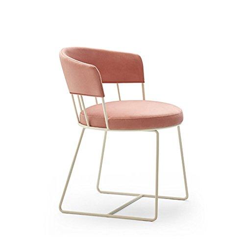 Crazy stool ZWD Modernes Möbel Stuhl – Bar Stuhl Rosa Metall Rahmen Schminktisch Mädchen Raum Sessel Beauty Salon Stuhl Hocker und Stühle Metall Rose 70  57  57cm