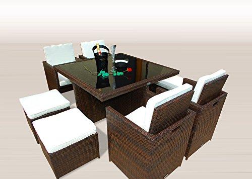 Ragnarök-Möbeldesign PolyRattan - DEUTSCHE Marke - EIGNENE Produktion - 8 Jahre GARANTIE auf UV-Beständigkeit Gartenmöbel Essgruppe Tisch  4 Stuhl 4 Hocker 12 Polster Braun
