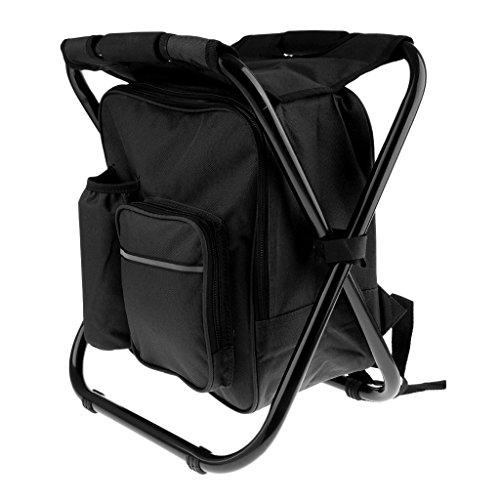 perfk Faltbarer Sitzrucksack Rucksack Stuhl Camping Hocker mit Kühltasche 3 in 1 Multifunktions - Schwarz