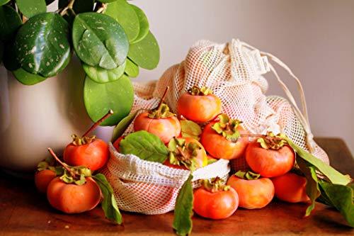Obst Und Gemüsebeutel Taschen Aus Bio-Baumwolle Brotbeutel plastikfreien Einkauf 3er Set Mit Gewichtsangabe und Feld für Etiketten baumwollnetze Obst- und Gemüsebeutel Brotbeutel Baumwolle