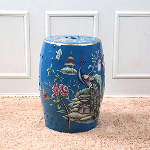 Shoe stool LUYIASI- Handbemalte Blumen und Vögel Chinesische Hocker Keramik Drum Hocker Dressing-Bänke Runde Hügel Hocker 32x45cm Farbe  Blau