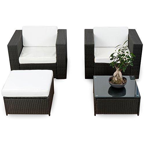 XINRO erweiterbares 10tlg Balkon Garten Lounge Set Polyrattan - schwarz - Sitzgruppe Garnitur Gartenmöbel Lounge Möbel Set - inkl Lounge Sessel  Hocker  Tisch  Kissen