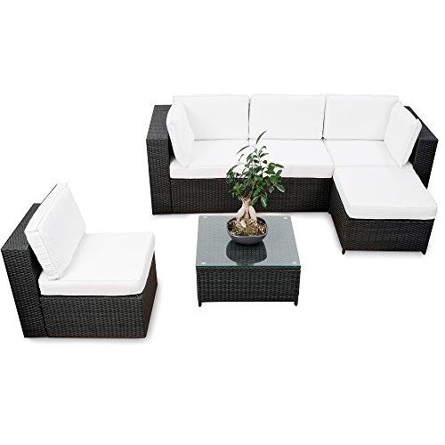 XINRO erweiterbares 18tlg XXL Lounge Set Polyrattan - schwarz - Gartenmöbel Sitzgruppe Garnitur Lounge Möbel Set aus Polyrattan - inkl Lounge Sessel  Ecke  Hocker  Tisch  Kissen