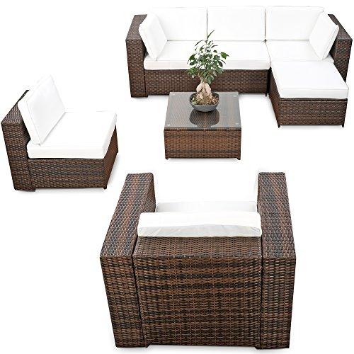 XINRO erweiterbares 21tlg XXXL Lounge Gartenmöbel Polyrattan - braun-Mix - Sitzgruppe Garnitur Gartenmöbel Lounge Möbel Set - inkl Lounge Ecke  Sessel  Hocker  Tisch  Kissen