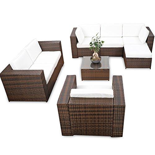 XINRO erweiterbares 23tlg Polyrattan Lounge Möbel Set Ecksofa - braun-Mix - Sitzgruppe Garnitur Gartenmöbel Lounge Set XXL - inkl Lounge Ecke  Sessel  Hocker  Tisch  Kissen