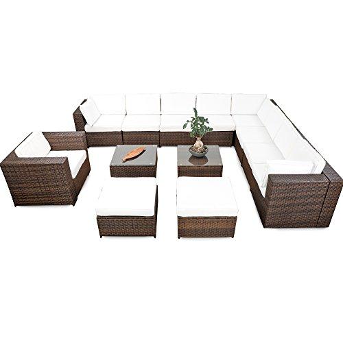 XINRO erweiterbares 38tlg Lounge Möbel Set Ecksofa Polyrattan - braun-Mix - Gartenmöbel Sitzgruppe Garnitur Loungemöbel XXXL - inkl Lounge Ecke  Sessel  Hocker  Tisch  Kissen