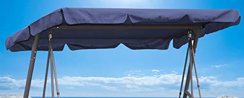 Quick-Star Ersatzdach Gartenschaukel Universal Hollywoodschaukel 3 Sitzer Blau Ersatz Bezug Sonnendach Schaukel Dach