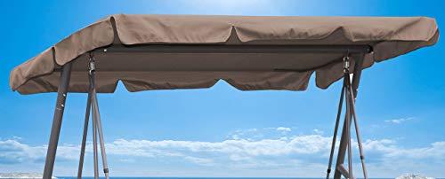 Quick-Star Ersatzdach Gartenschaukel Universal Hollywoodschaukel 3 Sitzer Taupe Ersatz Bezug Sonnendach Schaukel Dach