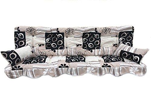 Adlatus-Kühnemuth Polsterauflage Hollywoodschaukel 150x50 Modell 152 wunderschönes modernes Design in den Farben beige weißtaupeschwarz