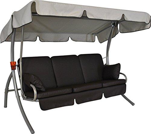Angerer 5190213020 Premium Comfort Hollywoodschaukel Design Leder Schoko Sonnendach beige 3-Sitzer