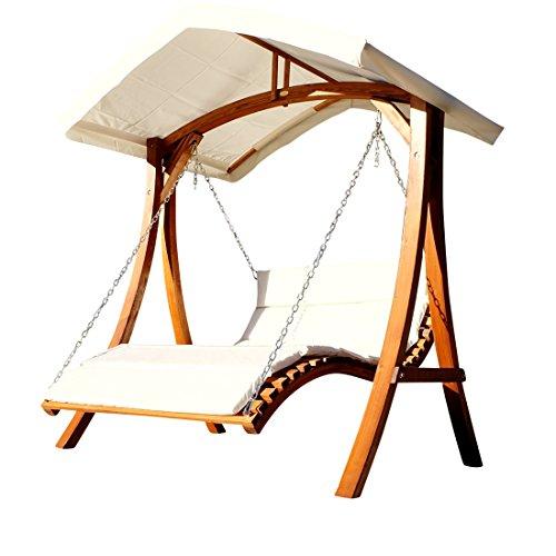 Design Hollywoodschaukel Gartenschaukel Hollywoodliege Doppelliege aus Holz Lärche mit Dach Modell ARUBA von AS-S