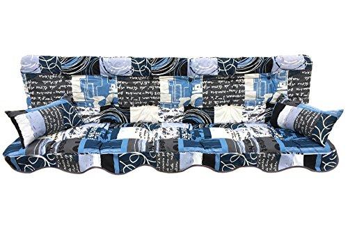Polsterauflage Hollywoodschaukelauflage Modell 933 modernes Design blau-weiß-anthrazit 180 x 50 cm Hollywoodschaukelauflage