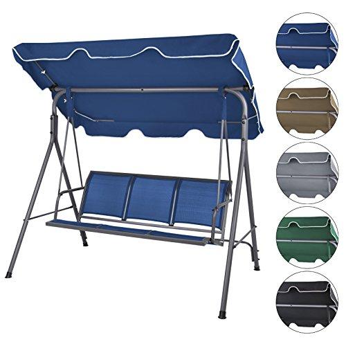 BB Sport 3-Sitzer Hollywoodschaukel BIBIONE mit Abnehmbarem und neigbarem Sonnendach Gartenschaukel für 3 Personen belastbar bis 250 kg Schutzhülle optional FarbeNachtblau