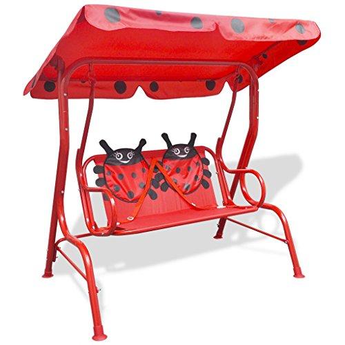 Festnight Kinder Hollywoodschaukel Gartenschaukel Schaukel mit Sonnendach Kinderschaukel 115 x 75 x 110 cm Rot