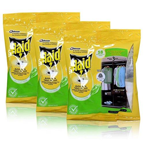 3x Raid Motten-Kissen Grüner Tee 18 Kissen - Wirkt bis zu 3 Monate