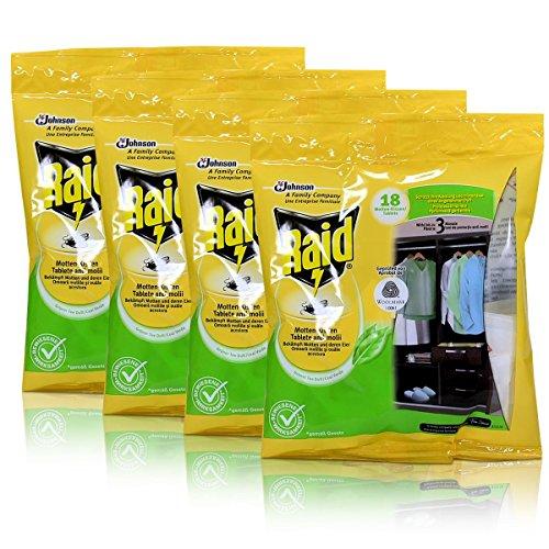 4x Raid Motten-Kissen Grüner Tee 18 Kissen - Wirkt bis zu 3 Monate