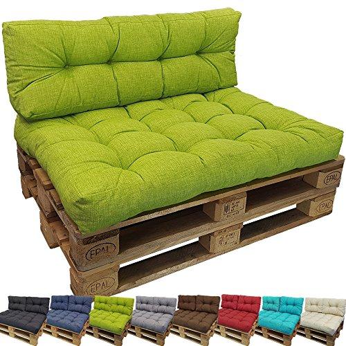 PROHEIM Outdoor Palettenkissen Lounge Palettensofa IndoorOutdoor schmutz- und Wasserabweisende Palettenauflage Palettenpolster für Europaletten VarianteSitzkissen FarbeApfelgrün