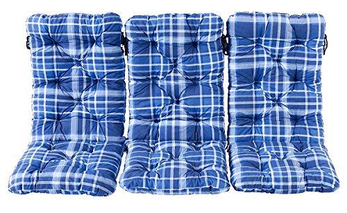 Ambientehome 3er Set Hochlehner Auflage Kissen Hanko Maxi kariert blau ca 120 x 50 x 8 cm Rückenteil ca 70 cm Polsterauflage