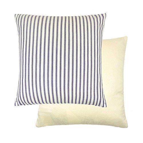 gefüllt Evans Lichfield Marine Denim gestreift Streifen blau creme Kissen aus 100 Baumwolle