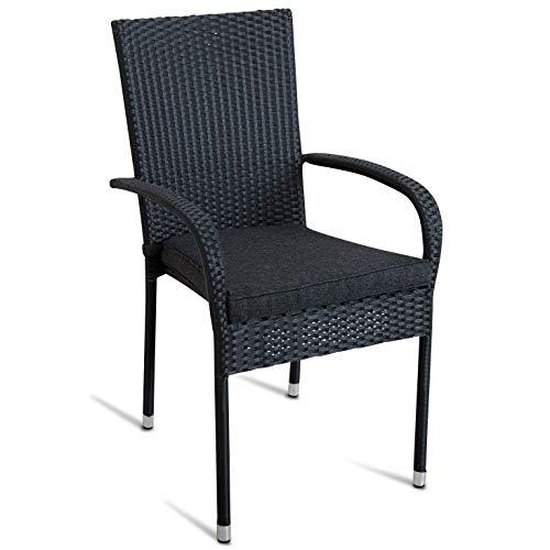 2X Gartenstuhl schwarz stapelbar inklusive Kissen Polyrattan Stapelstuhl Bistrostuhl Gartensessel Poly Rattan Set