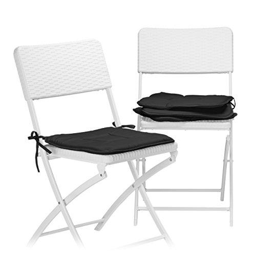 Relaxdays Stuhlkissen 4er Set Sitzkissen mit Schleife Auflage für Stühle in Haus und Garten waschbar Stuhlauflage aus Polyester schwarz
