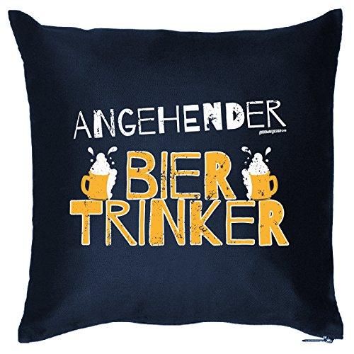 Goodman Design  Kissen mit Bier Motiv - Angehender Biertrinker - Bier sprüche - Trinksprüche - Sofakissen - Couch Kissen - Navyblau