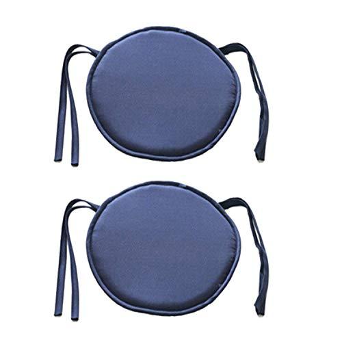 Joasung 2 Stück Runde Esszimmer Stuhl Kissen Stuhl Sitzpolster mit Schnüren Für Terrasse Haus Auto Sofa Büro Tatami Indoor Outdoor Dekoration 40cm × 40cm Marineblau