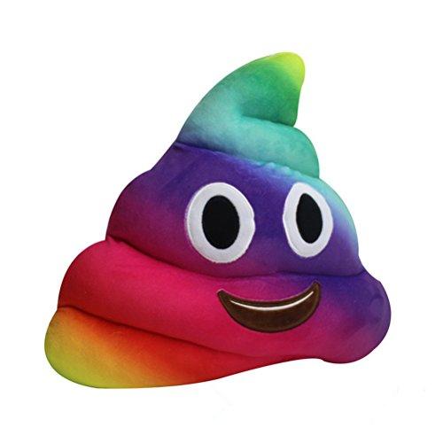 LUOEM Kackhaufen Emoticon Kissen Poop Kissen Plüsch Dekokissen Sofa Dekoration 20cm Regenbogen Lächeln