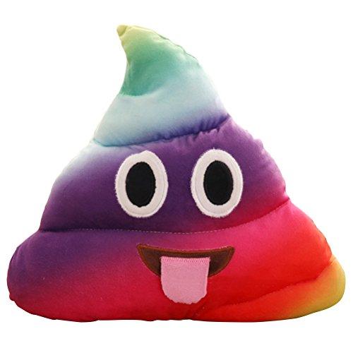 LUOEM Kackhaufen Emoticon Kissen Poop Kissen Plüsch Dekokissen Sofa Dekoration Regenbogen Farbe