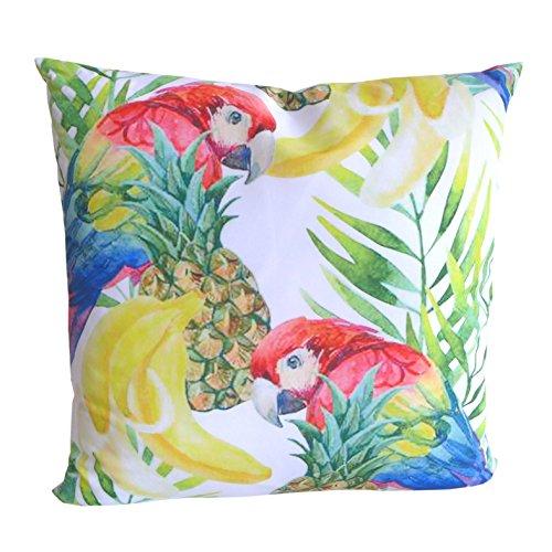 Schönes Dekokissen Tropic Motiv Papagei 45x45 cm Zierkissen Kissen Dekoration