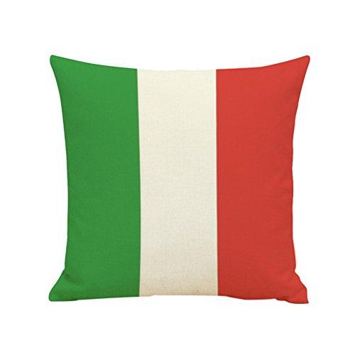 VORCOOL Leinen Kissenbezug Italien Flagge Muster Dekokissen Fall Leinenkissen Kissenhülle Home Sofa Dekoration