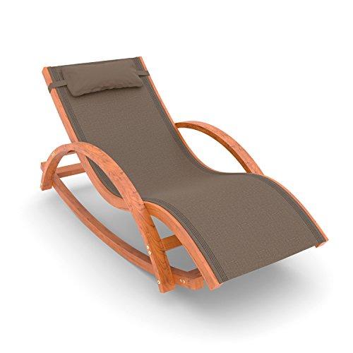 Ampel 24 Relax Schaukelstuhl Rio Relaxliege mit Armlehnen Gartenmöbel aus vorbehandeltem Holz Stuhl Bespannung braun wetterfeste Gartenliege