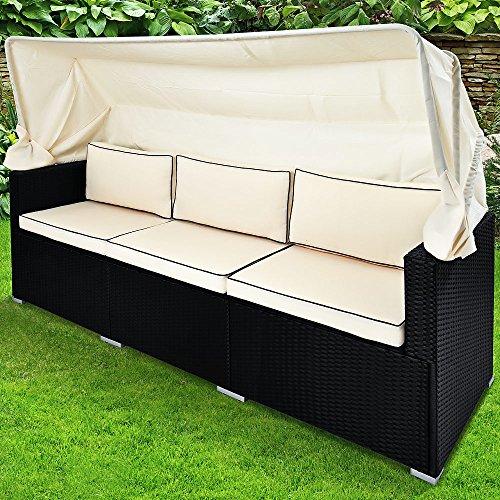 Deuba Poly Rattan Gartenbank schwarz mit faltbarem Dach  7cm Dicke Sitzauflagen Creme  UV-beständiges Polyrattan - Gartenliege Lounge Liege Sofa Couch Gartenmöbel