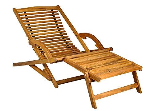 MALATEC Holz Sonnenliege Gartenliege Liegestuhl Relaxliege Liege Gartenmöbel 5097