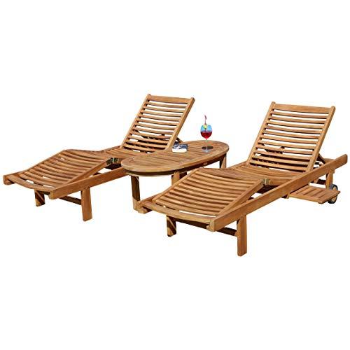 2x Hochwertige TEAK Sonnenliege Gartenliege Strandliege Liegestuhl Holzliege Holz geölt sehr robust Modell COZY 1x Beistelltisch COCO 110x50cm von AS-S